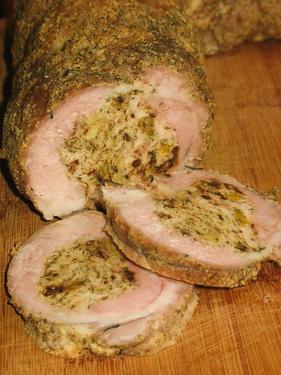 [b]***Мясо в мясе***[/b][br][br] Состав:[br]Свинина 1 кг 500 гр[br]Начинка:[br] Филе куриное 0,5 кг[br]                Курага 10 шт.[br] Чернослив 8 шт.[br] Укроп и петрушка  по 0,5 пучка[br] Соль, перец, чеснок  по  вкусу[br] Приправа армянская (или какая имеется в доме)[br]Баварская горчица[br][br]                                                     Пиво любое  1,5 стакана[br] Мясо берем одним куском. Сделать посередине куска надрез, не доходя до края примерно 1 см. Надрезать кусок вправо и влево, также не доходя до конца 1 см. Раскрыть кусок мяса, как книгу. Надсечь утолщенные места.  Дальше накрываем мясо пищевой плёнкой и отбиваем. Отложите его, пусть отдыхает пока. В  мясорубке мелим курагу, чернослив и зелень. Прокручиваем  куриное филе. Солим, перчим, приправляем и добавляем  мелко порезанный чеснок. Все перемешиваем. На  рабочий стол  сыпем  соли, перца и приправы. Кладем на это все наше отбитое мясо.  Укладываем начинку по всему куску, отступая от края на 1,5 см. Смазываем баварской горчицей. Сворачиваем  рулетом и обвязываем  нитками.  Обсыпаем армянской приправой и снова смазываем слегка горчицей. Укладываем  наш рулет в форму на дне которой установлена решетка. Подливаем под решетку пиво. Закрываем все это фольгой и в духовый шкаф на 1 час при температуре 200*С. После истечения времени, открываем фольгу, поливаем рулет образовавшимся соком из под дона и отправляем  снова в духовку на 30 минут, не забывая, периодически,  поливать его.  Рулет должен покрыться аппетитной зажаристой корочкой.